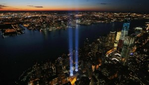 "The ""Tribute in Light"" marks where the World Trade Center buildings stood to commemorate the 11th anniversary of the September 11 terrorist attacks on Tuesday, September 11. Getty Images."